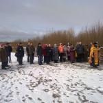 Первый молебен на месте предстоящего строительства храмового комплекса служит отец Александр Шестаков